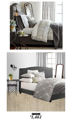 Get this moody gray luxurious bedroom for less than $1,500. Recreated by @lindseyboyer for Copy Cat Chic #roomredo