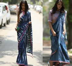 Designer: Anubha Jain, Denim saris. Love it.