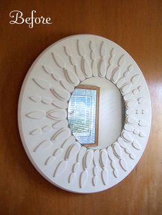 DIY Sunburst mirror tutorial @ http://www.craftynest.com/2009/10/sunburst-mirror-revamp/   ---  she has so many great ideas I want to make them all!