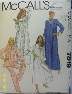 McCall s Sewing Pattern 7819 Misses Size Small (10-12) Robe Nightgown  Pajamas Baby 58c3ae995
