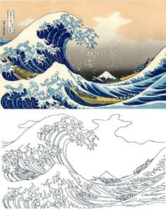 Katsushika Hokusai Coloring Pages - The Great Wave of Kanagawa Coloring Pages - # . - Katsushika Hokusai Coloring Pages – The Great Wave of Kanagawa Coloring Pages – - Aesthetic Painting, Aesthetic Drawing, Wave Drawing, Painting & Drawing, Sea Drawing, Colorful Paintings, Art Paintings, Hokusai Paintings, Art Sketches