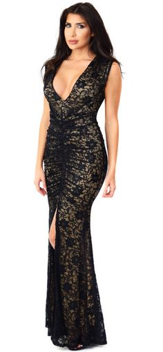 Isabella Deep V Front Slit Lace Dress