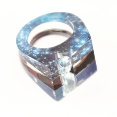 Oh My Stars! Layered Acrylic Ring with Natural Blue Topaz $175 by Jennifer Merchant