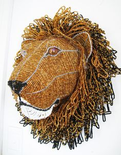 Bead and Wire Lion Trophy Head by African Creative