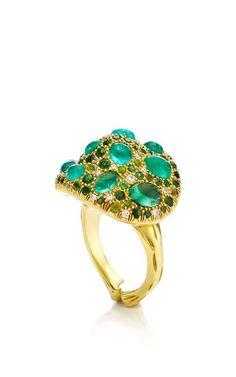 One Of A Kind Paraiba Tourmaline And Diamond Mushroom Ring by Nicholas Varney for Preorder on Moda Operandi