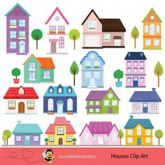 little houses digital clipart digital etsy and vector clipart rh pinterest com clip art of homes with families clip art of houses in africa