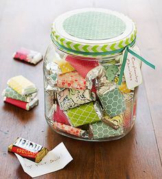 A jar of candy compliments! A collection of sweet sentiments -- each wrapped around a chocolate candy -- makes a delectable present for that someone your child just can't say enough good things about!