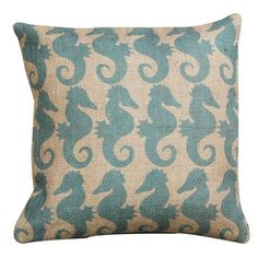 Blue Seahorse Pillow. cute for a seaside themed room