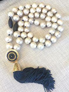 Cuero azul marino perla Barroca anudada Flameball perla