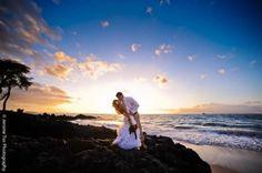 Sunset Photo :  wedding beach bouquet brown ceremony dress flowers hawaii inspiration ivory maui ocean orange reception sunset teal trash the dress ttd white Wedding