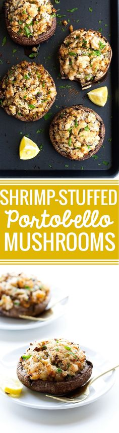 Stuffed Portobello Mushrooms Recipe Shrimp Stuffed Portobello Mushrooms - Easy to make, waistline friendly, and just 30 minutes from start to finish! Fish Recipes, Seafood Recipes, Vegetarian Recipes, Cooking Recipes, Healthy Recipes, Healthy Mushroom Recipes, Shrimp Recipes For Dinner, Vegetarian Barbecue, Barbecue Recipes