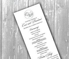 Elegant wedding program - church program. $3.50, via Etsy.