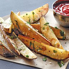 """Garlic-Parsley Steak """"Fries"""" Recipe from My Recipes Potato Dishes, Vegetable Dishes, Vegetable Recipes, Potato Recipes, Hamburgers, Side Dish Recipes, Side Dishes, Roasted Potato Wedges, Great Recipes"""