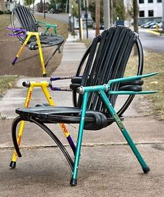 A chair made from bicycle parts.