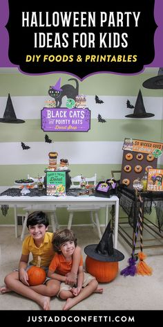Welcome to our Black Cats and Pointy Hats Donut Shop! This simple Halloween party is perfect for kids or the whole family! It's is full of cute Halloween donut ideas and printable Halloween party decor. Who doesn't love Halloween treats!? Don't miss the black cat mini donuts and spider donut holes. You can recreate this Halloween party in no time with my Just Add Confetti party printables. They are all available in my Etsy Shop.