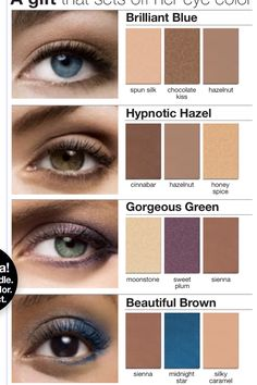 "Mary Kay eye color suggestions. Your eyes are the windows to your soul...make them ""pop""!    ***FREE SHIPPING (usa only)***    www.marykay.com/khayes1"
