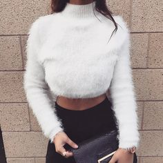 """1,262 Likes, 4 Comments - www.hot-mess.co.uk (@hotmessclothing) on Instagram: """"Keep warm in the White Fluffy Cropped Jumper - Was £42, now just £20 🐰😍"""""""