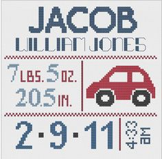Customized Cross Stitch for Baby - Pattern - Car