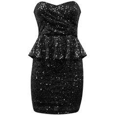 SEQUIN BANDEAU PEPLUM DRESS ($40) ❤ liked on Polyvore