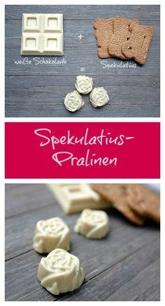Pralinen aus weißer Schokolade und Spekulatius - Schnelle Rezepte aus meiner Küche A delicious praline made from only 2 ingredients: white chocolate and speculoos. A delicious Christmas chocolate trea Quick Recipes, Sweet Recipes, Praline Cake, Chocolate Coating, Christmas Chocolate, Chocolate Treats, Delicious Chocolate, How To Make Chocolate, Cookie Recipes