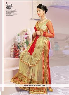 Drape this classy red and beige color saree from the house of RachitFashion and look gorgeous like never before.
