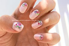 pink with rhinestones (nails)