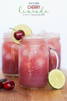 Recipes | Drinks | Beverages | This Homemade Cherry Limeade Recipe is the perfect Summer Drink.