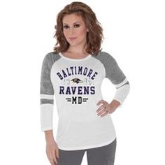 0fdfd7f1643 Touch by Alyssa Milano Baltimore Ravens Ladies Stella Long Sleeve T-Shirt -  White Spring