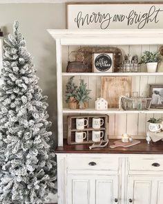 Bookshelf, hutch decoration inspiration, Christmas winter decor ideas.