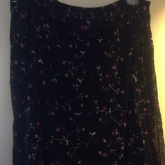 Pretty Black Lined Skirt Sheer black lined embroidered skirt.  Worn a few times. Good condition.   Notations Skirts