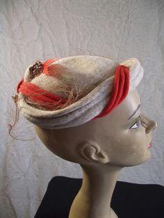 "Vintage ""Iris"" Oatmeal Tweed Orange Beenie Tilt Skull Cap Feather Berries Hat | eBay"