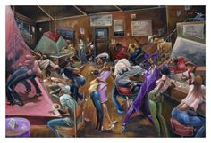 Lenny's Lounge by Frank Morrison is an African-American work of art of a lively lounge with a bar, pool table, and dance floor. Black Artwork, Cool Artwork, Amazing Artwork, Awesome Art, African American Art, American Artists, Frank Morrison Art, Ernie Barnes, Black Art Pictures
