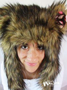 MEGA-Fuzzy Aviator hat, Brown Husky Fur hat, Box of Chocolates lining, Kawaii Fur fur, earflap fur hat, raverwear, Burning Man, Valentine