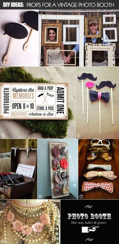 still loving the idea of a photo booth. I like the  vintage props in this one. Love the idea of chalkboards and old picture frames etc.