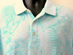 Tasso Elba Island Blue XL Hawaiian Polo Shirt Tropical Leaves 3 Button Neckline #TassoElba #PoloRugby