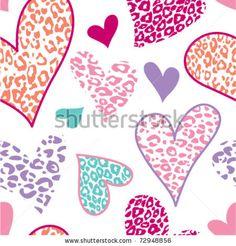 Seamless leopard hearts pattern - stock vector