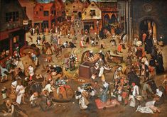 Pieter Bruegel the Elder : The Battle Between Carnival and Lent - Kunsthistorisches Museum, Wien Renaissance Artists, Renaissance Paintings, Pieter Brueghel El Viejo, Kunsthistorisches Museum Wien, Pieter Bruegel The Elder, Landsknecht, Great Paintings, Dark Ages, Museum Of Fine Arts