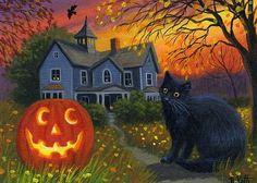 Black cat jack o lantern haunted house Halloween sunset OE aceo print art #Miniature