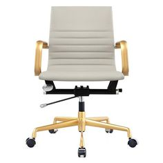 Shop for Office Chair In Grey Vegan Leather And Gold online. Meelano Office Chair 348-GD-GRY.