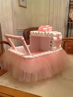 A diaper Ballerina baby carriage for my daughters up coming baby shower. by anas… A diaper Ballerina baby carriage for my daughters up coming baby shower. by anastasia Baby Shower Cakes, Baby Shower Diapers, Baby Shower Parties, Baby Shower Themes, Diaper Shower, Shower Ideas, Shower Bebe, Baby Boy Shower, Baby Shower Gifts