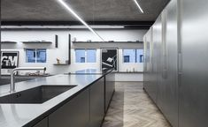 the stainless steel and aluminium kitchen