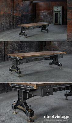 The Brunel Desk – İndustrial Office Industrial Office Desk, Industrial Home Offices, Industrial House, Industrial Furniture, Industrial Style, Office Desks Uk, Diy Office Desk, Desk Top Ideas, Desks For Small Spaces