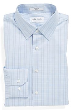 Men's John W. Nordstrom Plaid Trim Fit Dress Shirt