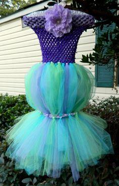 The Little Mermaid Tutu Costume - Halloween, dress, tulle, Ariel, Disney Princess