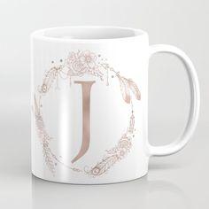 Letter J Rose Gold Pink Initial Monogram Coffee Mug by Nature Magick - 11 oz Monogram Coffee Mug, Rose Gold Pink, Letter J, Unique Coffee Mugs, Personalized Mugs, Monogram Initials, Tea Mugs, Coffee Cups, Feather Illustration