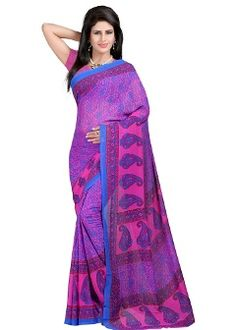 Buy Z Hot Fashion Georgette Saree - Purple