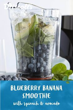 Start you day with our healthy recipe for a delicious blueberry-banana smoothie with spinach & avocado that's packed with nutrients. Avocado Smoothie, Blueberry Banana Smoothie, Raspberry Smoothie, Healthy Smoothies, Healthy Drinks, Smoothie Recipes, Raw Food Recipes, Healthy Recipes, Healthy Foods