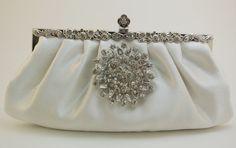Wedding Clutch Ivory Bridal Handbag Bridal Clutch by TheOmbreMouse Wedding Clutch, Wedding Bags, Wedding Ideas, Bridal Clutch Bag, Bridal Handbags, Handmade Clutch, Blush Bridal, Crystal Brooch, Ivory Wedding