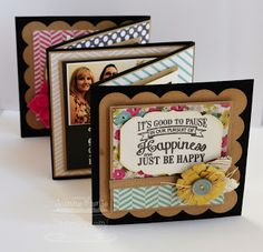 My Favorite Things Happiness Mini Album by basilefamily - Cards and Paper Crafts at Splitcoaststampers Mini Albums Scrap, Mini Scrapbook Albums, Scrapbook Paper Crafts, Scrapbooking Ideas, Paper Crafting, Mini Album Tutorial, Album Book, Journal Cards, Creative Gifts