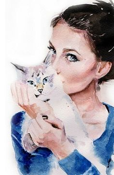 watercolor - my cat has that expression when I am trying to love on her !